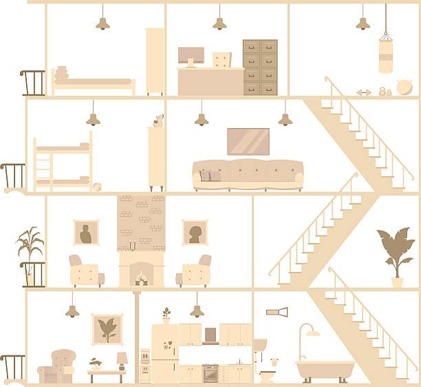 house interior silhouette. Vector illustration house interior silhouette. Vector illustration dollhouse stock illustrations