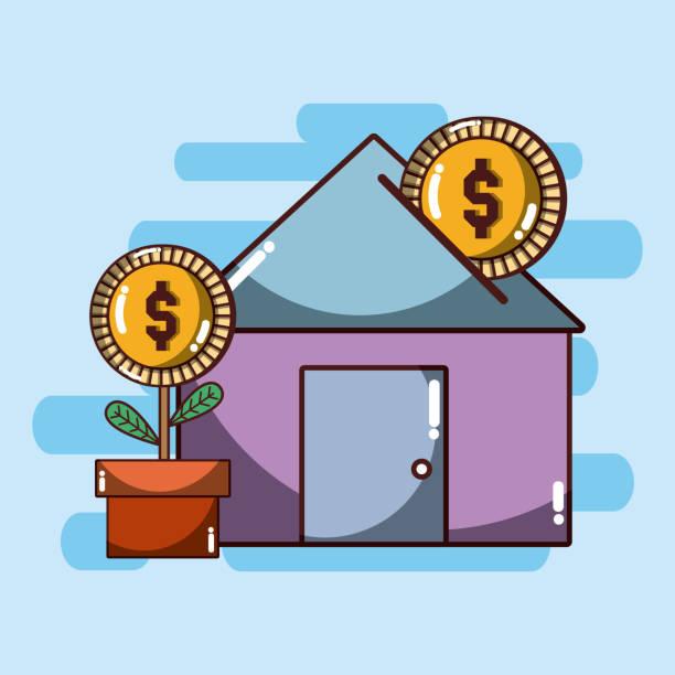 house investitionen konzept - dachpfannen stock-grafiken, -clipart, -cartoons und -symbole