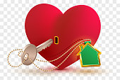 House is key to heart of your beloved. Red heart shape lock and key with key ring home. Isolated on transparent background vector illustration