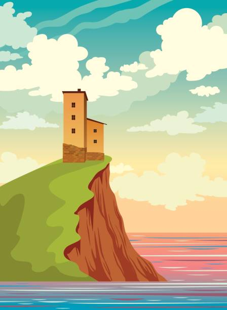 House, island, sea, sunset sky, clouds. Summer nature landscape. Old house, island with green grass and calm sea on a sunset cloudy sky. Vector nature landscape. Summer illustration. cliff stock illustrations