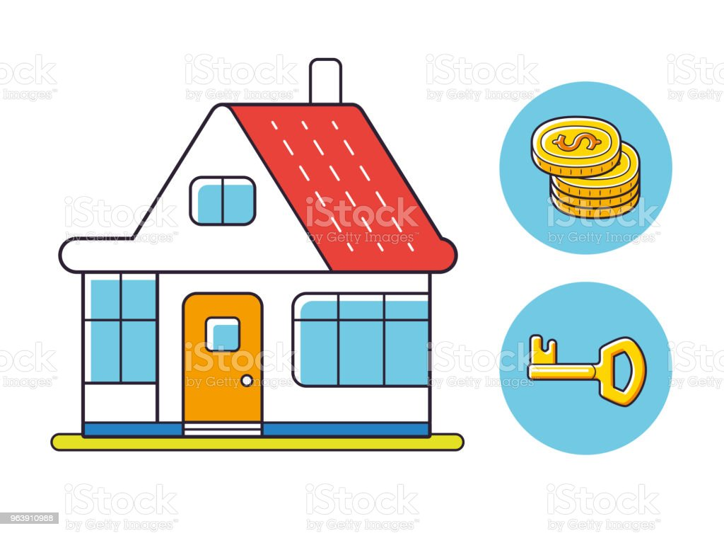 House isolated, coins stack, key icons. - Royalty-free Apartment stock vector