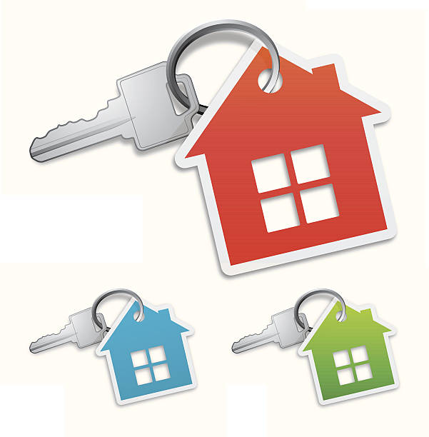 House key Keys with house symbols. 3 different colour style. Eps10 - contains transparent and blending mode objects. All design elements are layered and grouped. house key stock illustrations