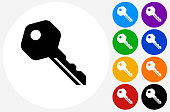 House Key.The icon is black and is placed on a round blue vector button. The button is flat white color and the background is light. The composition is simple and elegant. The vector icon is the most prominent part if this illustration. There are eight alternate button variations on the right side of the image. The alternate colors are orange, red, purple, yellow, black, green, blue and indigo.