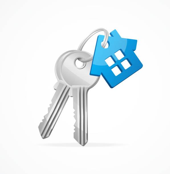 House keys with Blue Key chain House keys with Blue House Key chain house key stock illustrations