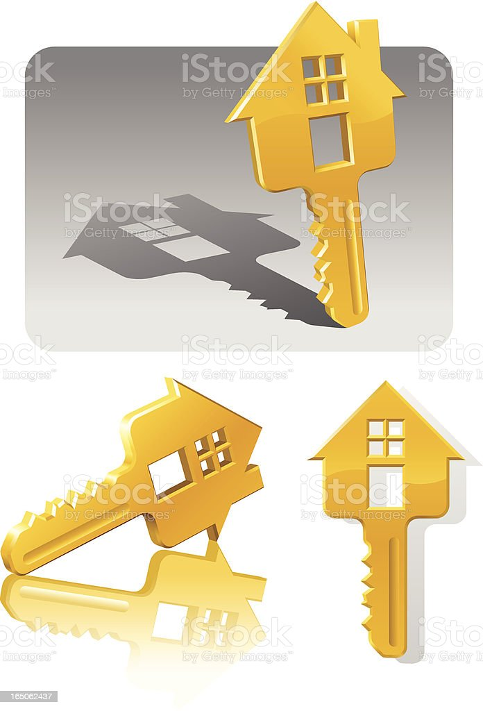 House keys with gold houses on the tabs royalty-free stock vector art