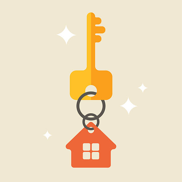 House keys with Red House Key chain Flat illustration with key and house tag, isolated house key stock illustrations