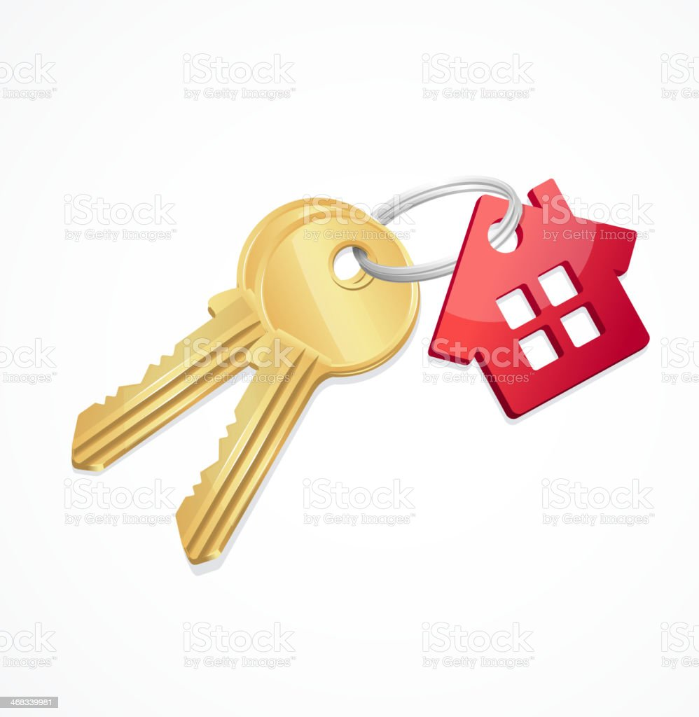 House keys with Red Key chain vector art illustration