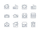 House Line Icon Vector / Home icon / Building  houses - Vector thin line icon
