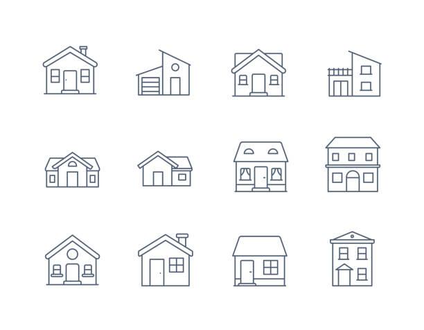 house line icon vector / ikona domu / domy budowlane - ikona cienkiej linii wektora - house stock illustrations