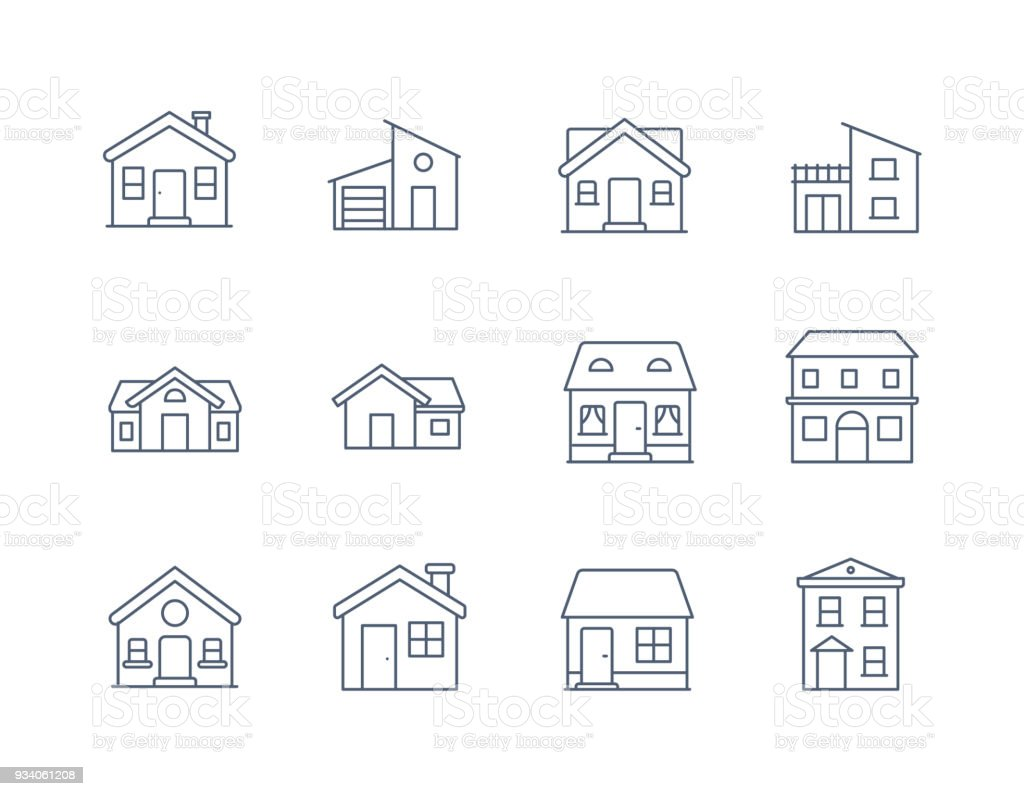 House Line Icon Vector / Home icon / Building  houses - Vector thin line icon vector art illustration