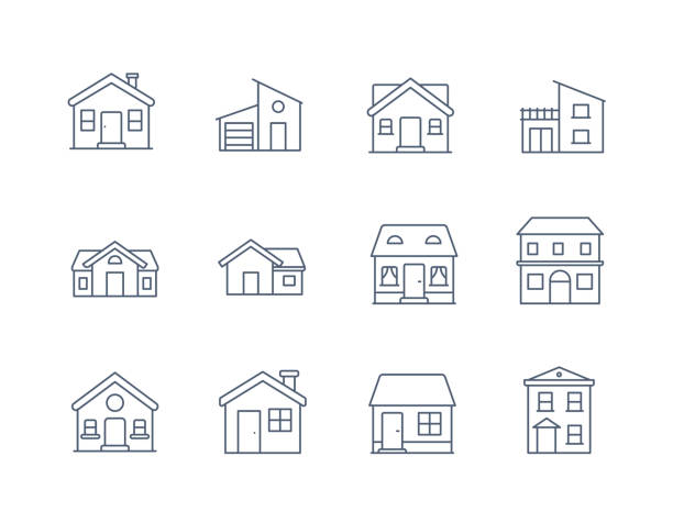 illustrazioni stock, clip art, cartoni animati e icone di tendenza di house line icon vector / home icon / building  houses - vector thin line icon - icona line