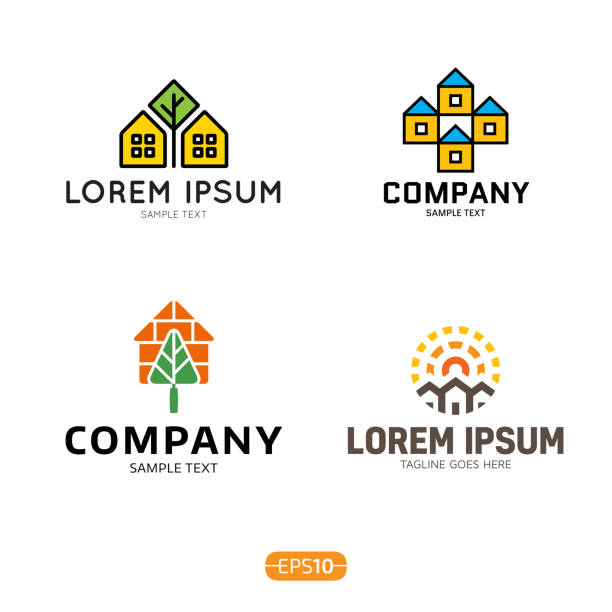 House Logo Vector Template Set House logo design template set. Vector colorful eco home logotype, sign, symbol collection. Real estate badge concept isolated on background. Modern graphic building and housing label icon village stock illustrations