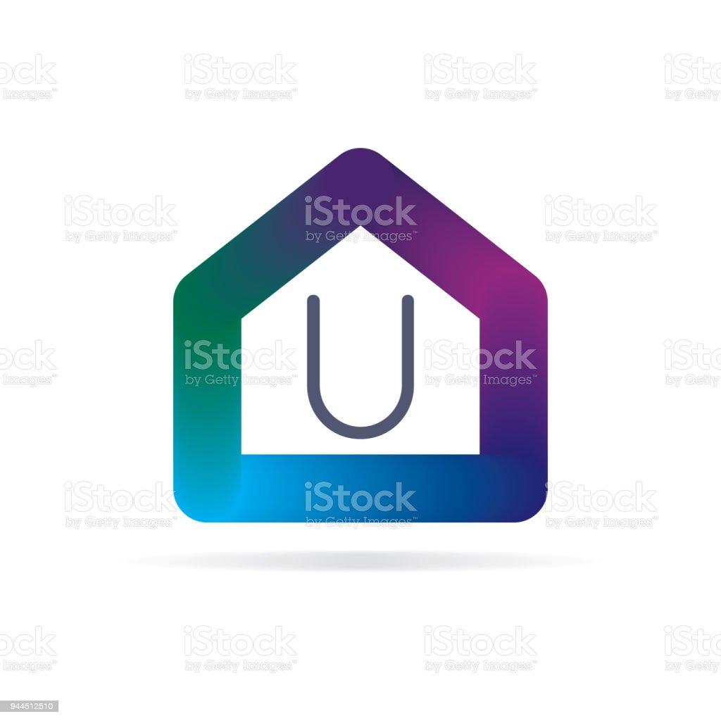 Ilustración de Logotipo De La Casa Con Signo De La Letra U Plantilla ...