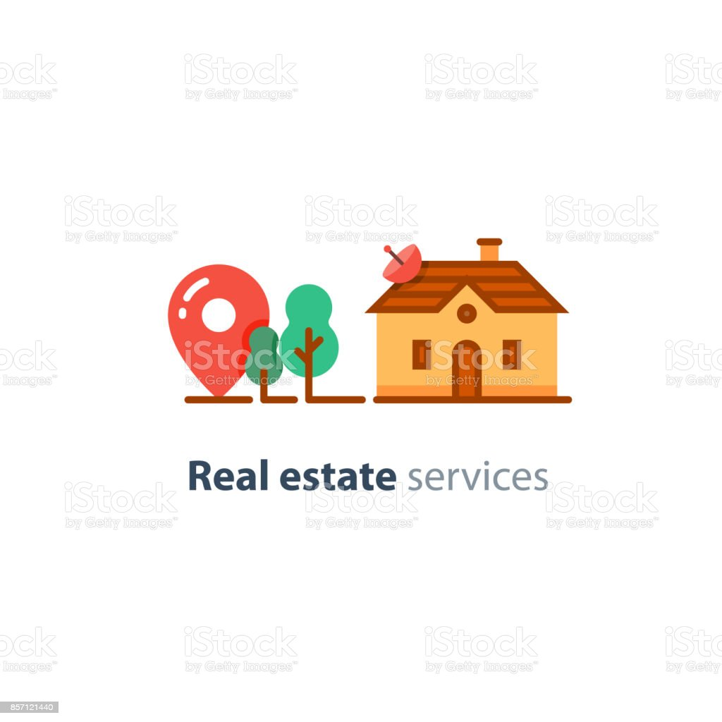 House lot, real estate property, residential home icon vector art illustration