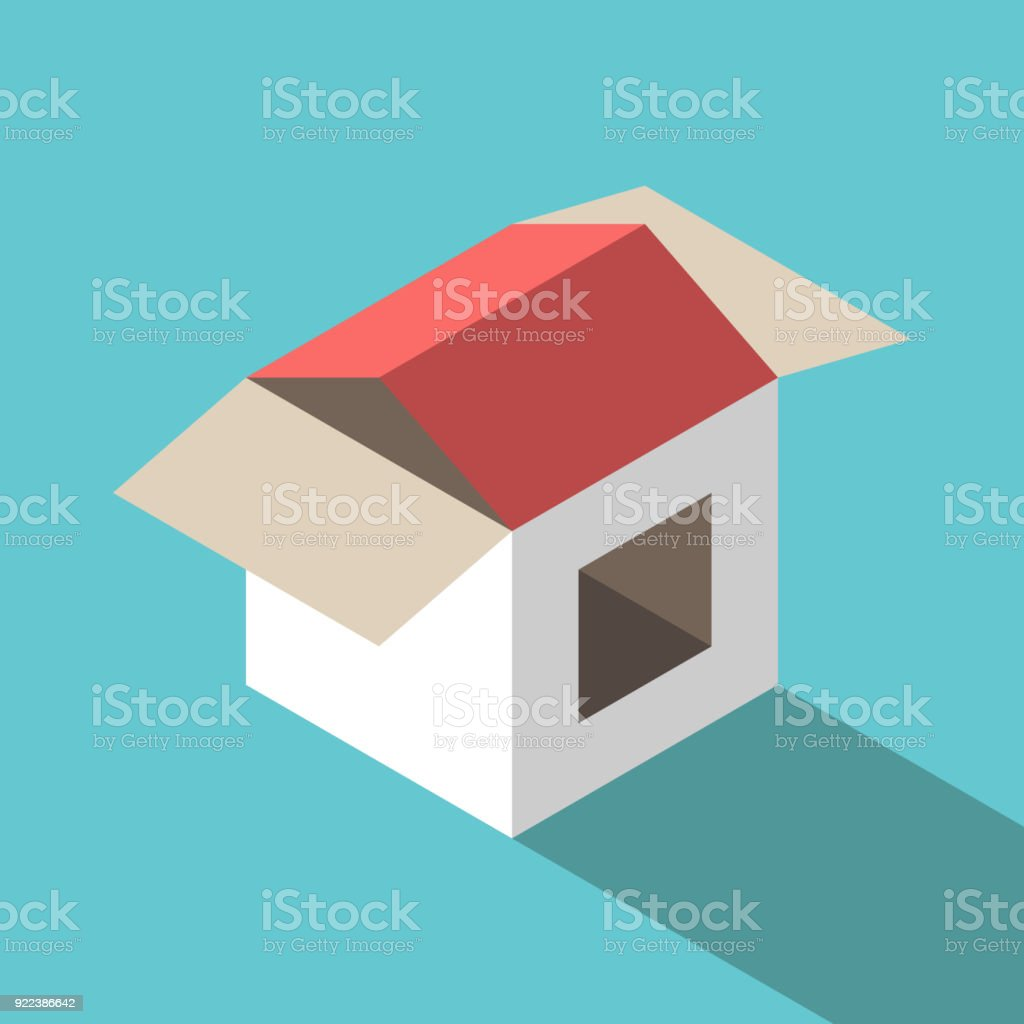 House made of box vector art illustration