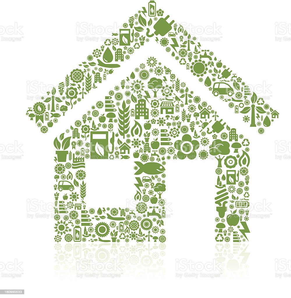 House made of ecology icons vector art illustration