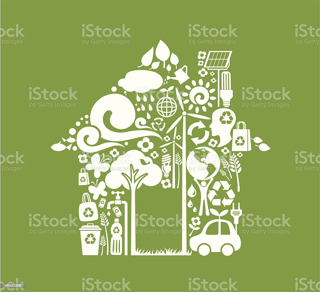House made up of eco-friendly icons on a green background royalty-free stock vector art