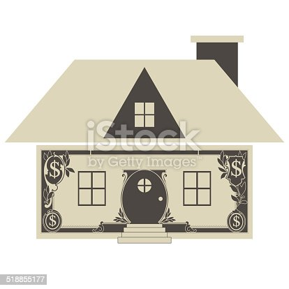 Cute abstract house showing a money concept, vector illustration.