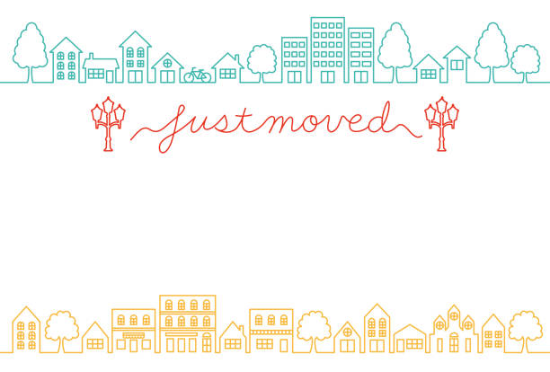 house moving greeting card. house moving greeting card. just moved. town stock illustrations
