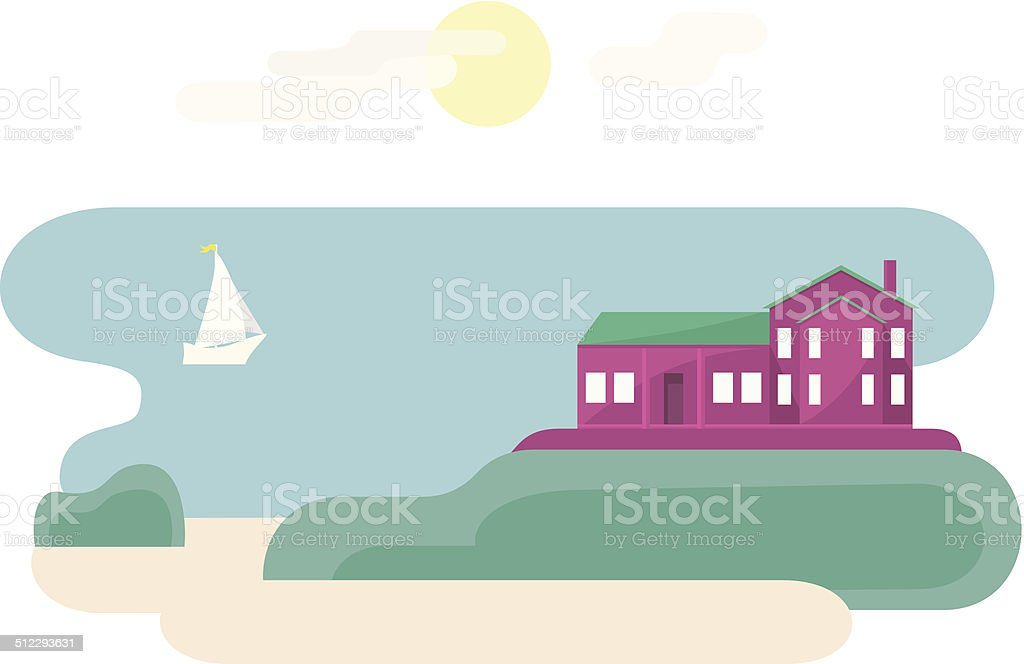House Near Ocean vector art illustration