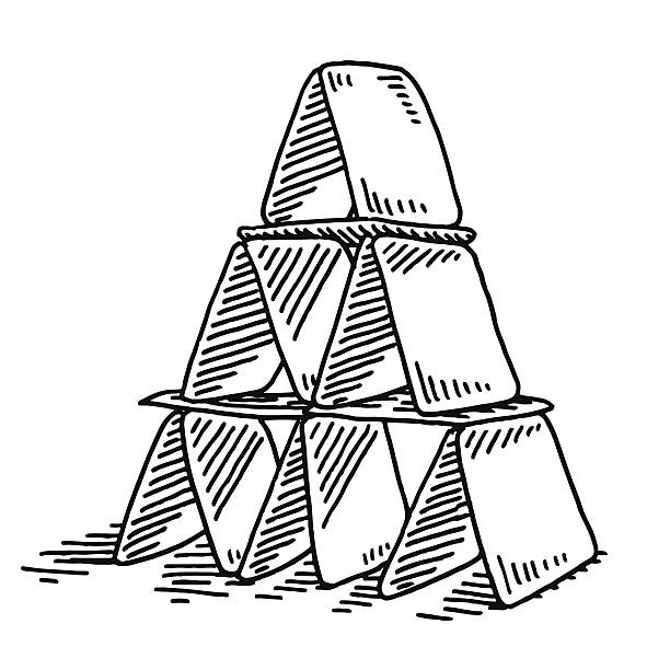 House Of Cards Drawing Hand-drawn vector drawing of a House Of Cards. Black-and-White sketch on a transparent background (.eps-file). Included files are EPS (v10) and Hi-Res JPG. game stock illustrations