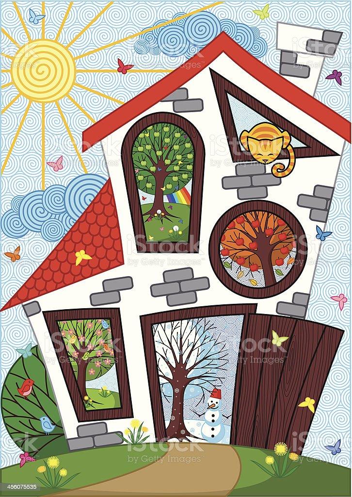 House of Four Seasons royalty-free stock vector art