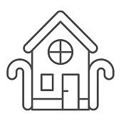 House of sweets with candies thin line icon, Christmas concept, Christmas homemade sweets sign on white background, Gingerbread house icon in outline style for mobile and web. Vector graphics