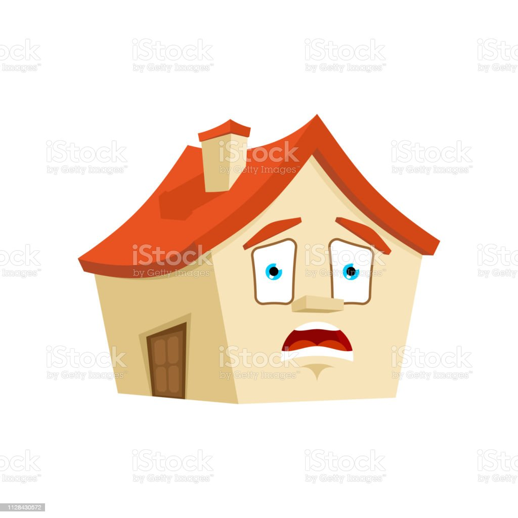 House OMG emotion isolated. Scared Home Cartoon Style. Building...