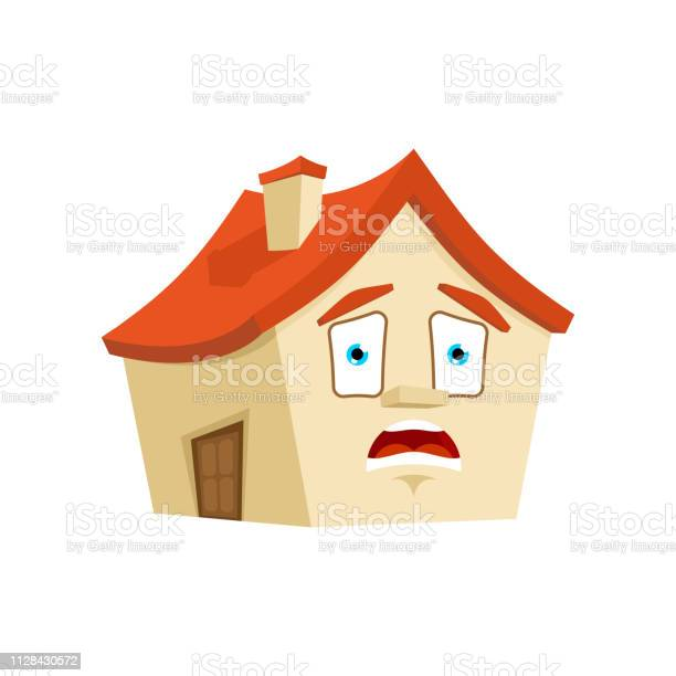 Huis Omg Emotie Geïsoleerd Bang Huis Cartoon Stijl Gebouw In Paniek Vector  Stockvectorkunst en meer beelden van Achtergrond - Thema - iStock