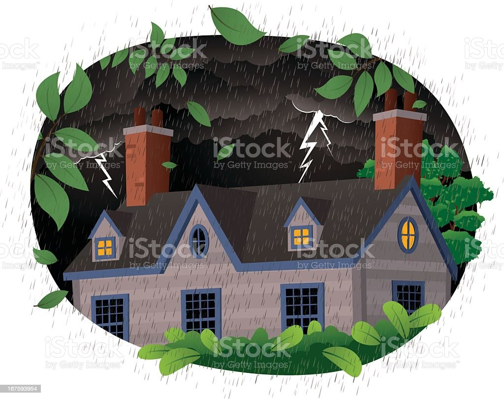 House on a stormy night royalty-free stock vector art