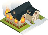 An isometric illustration of a house on fire. All colors are global.