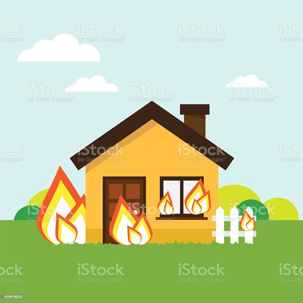 House on fire vector art illustration