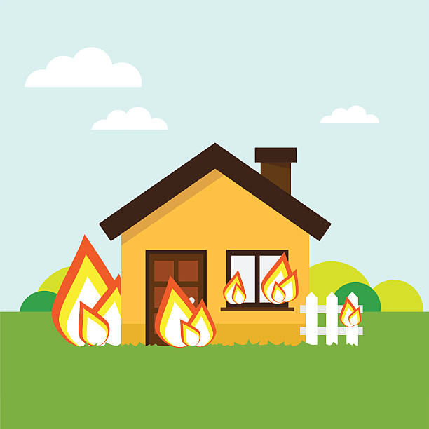 Best Burning Building Illustrations, Royalty-Free Vector ...