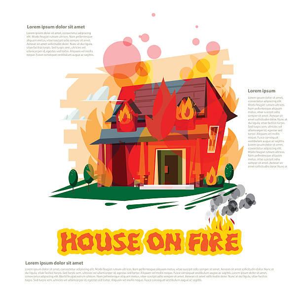 bildbanksillustrationer, clip art samt tecknat material och ikoner med house on fire with typographic design - vector - house after fire