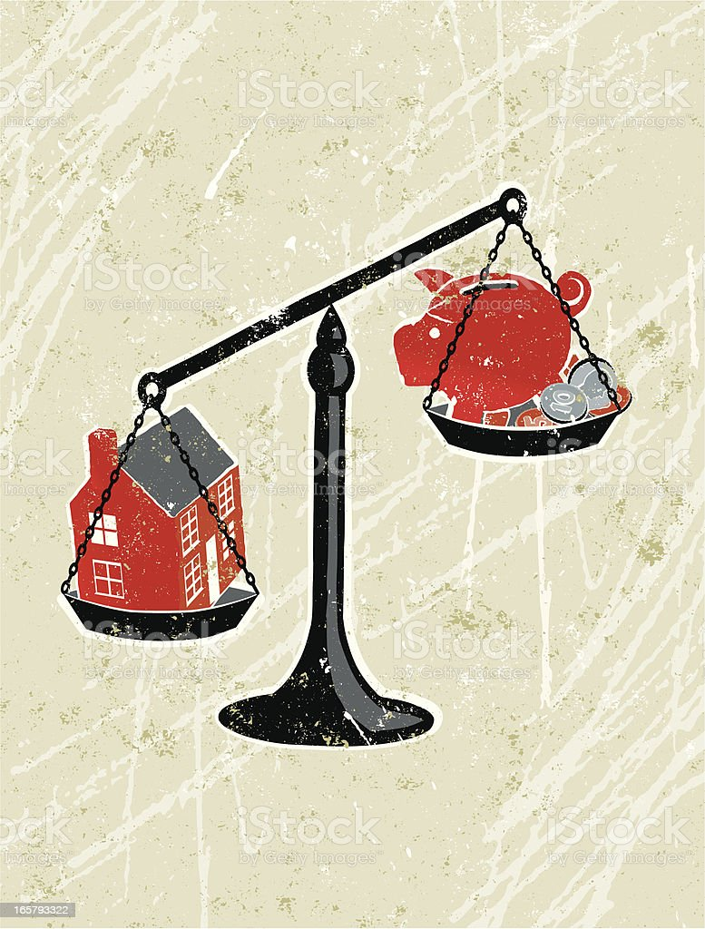 House on Scales Weighed Against Piggy Bank. vector art illustration