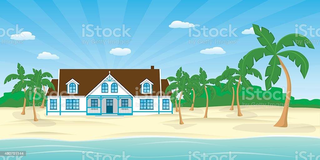 House On The Beach Vector Art Illustration