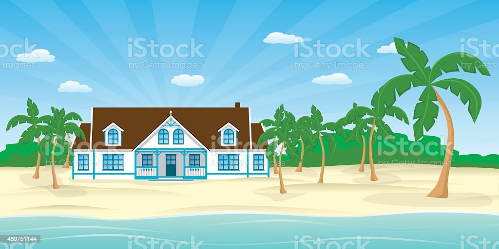 house on the beach vector art illustration