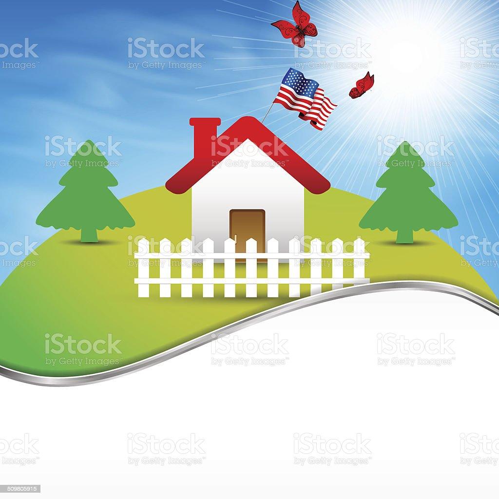 House on the hill vector art illustration