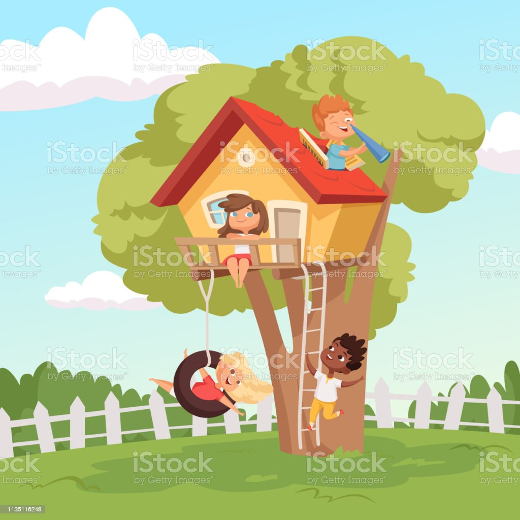 House on tree. Cute children playing in garden nature climbing vector kids background vector art illustration
