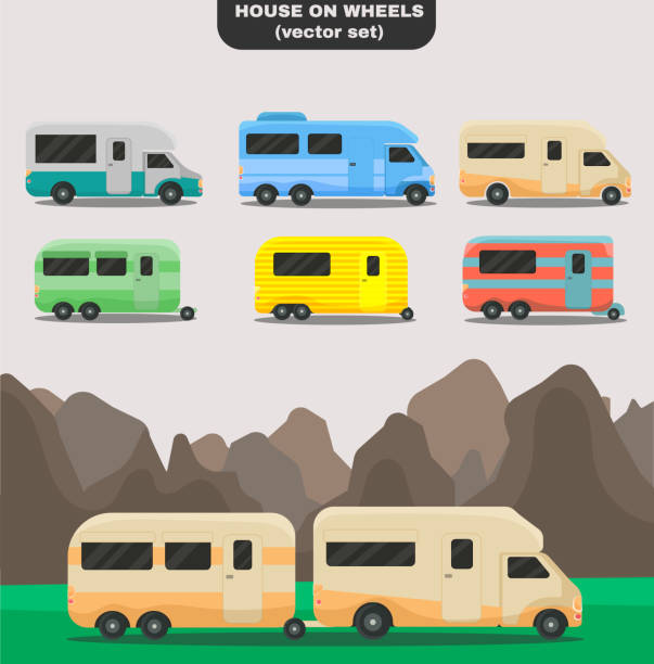 House on wheels. House on wheels. Set of isolated cars of different colors. Vintage cars, bus campervan. Trendy Flat style for graphic design, logo, Web site, social media, UI, mobile app. Vector illustration, EPS 10. rv interior stock illustrations