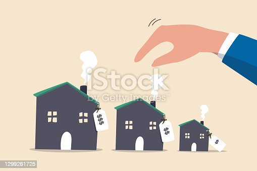 istock House or mortgage affordability calculation, picking new home base on budget, income or lifestyle concept, businessman hand wisely think to picking different variant houses with price tag. 1299261725