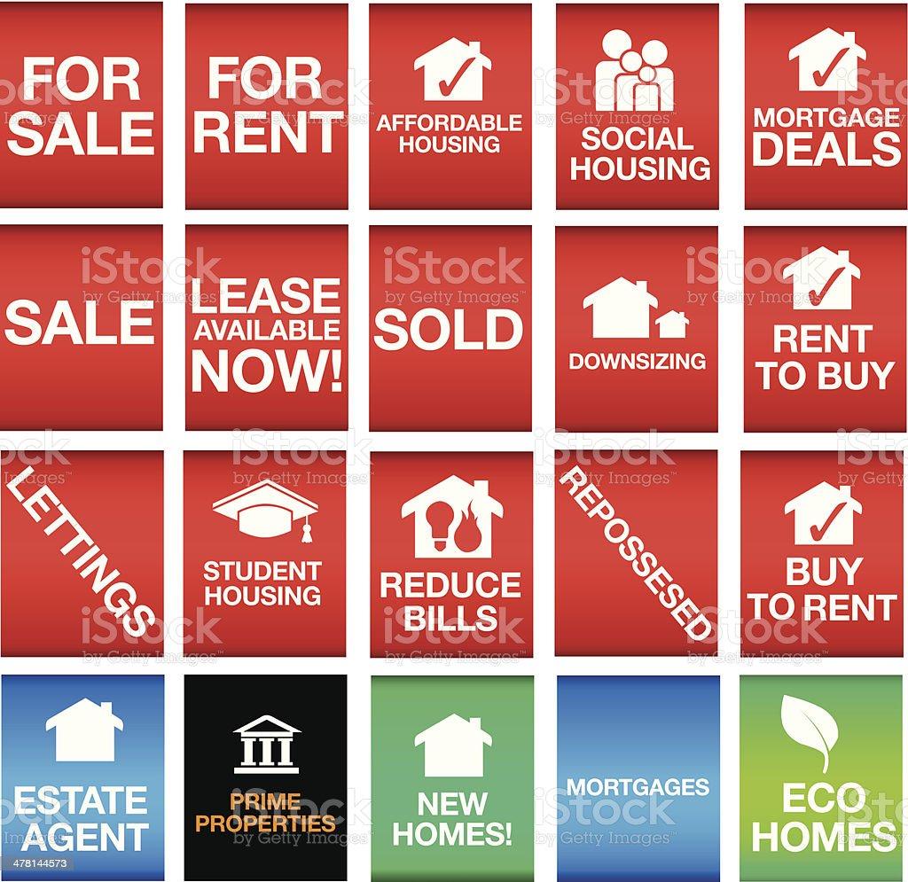 house oder Eigentum-icons oder Symbole und Zeichen – Vektorgrafik