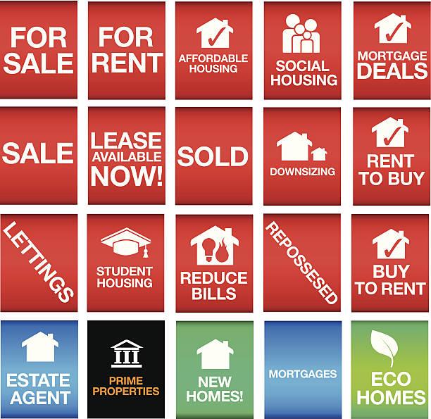 house oder eigentum-icons oder symbole und zeichen - hypotheken kündigung stock-grafiken, -clipart, -cartoons und -symbole