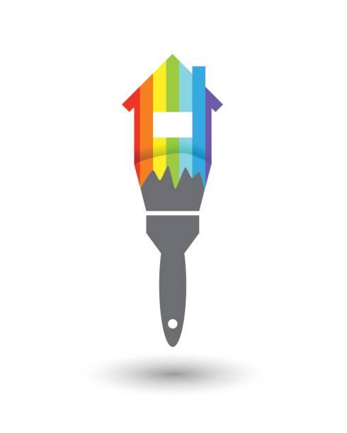 illustrations, cliparts, dessins animés et icônes de peintre en bâtiment concept - logo peintre en batiment