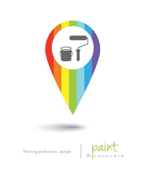 illustrations, cliparts, dessins animés et icônes de peintre  - logo peintre en batiment