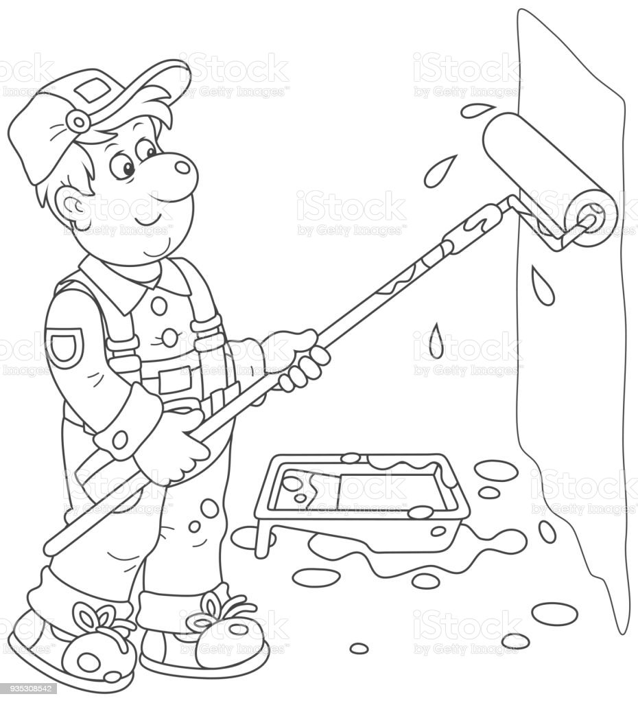 House Painter With A Color Roller Stock Illustration Download