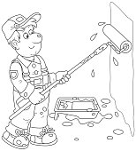Funny smiling worker painting a wall with a paint roller, a black and white vector illustration in cartoon style for a coloring book