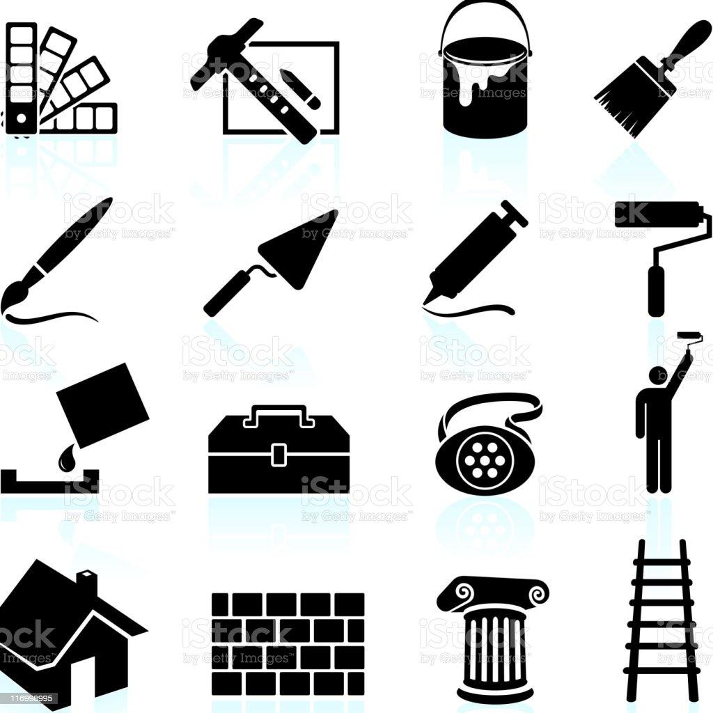 Haus Malen Schwarz Und Weiß Lizenzfreie Vektor Icon Set Lizenzfreies Haus  Malen Schwarz Und Weiß