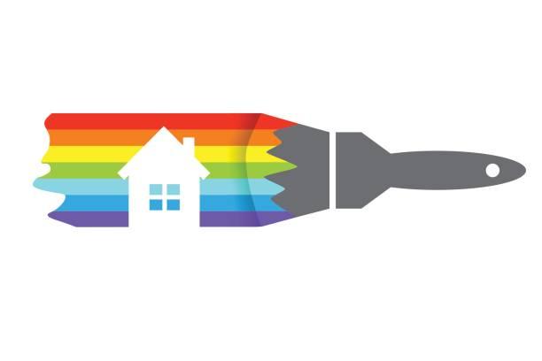 illustrations, cliparts, dessins animés et icônes de concept de maison de peinture - logo peintre en batiment