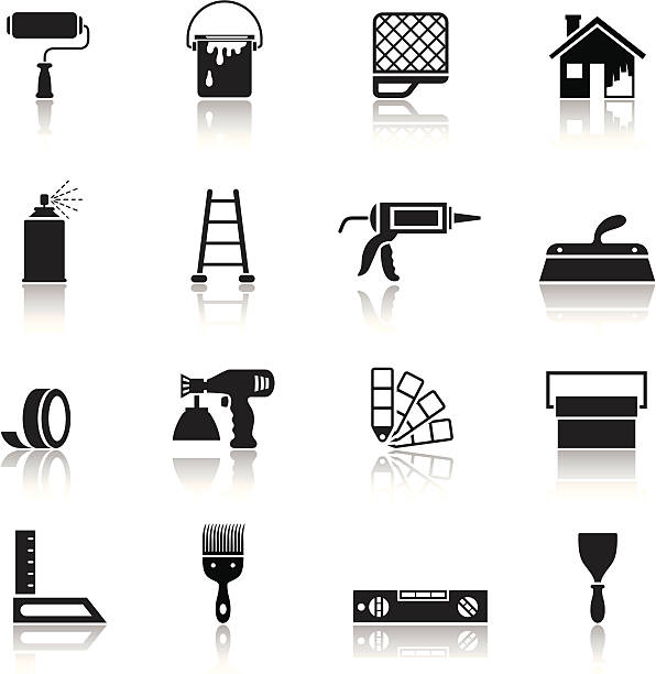 House Painting Icon Set High Resolution JPG,CS5 AI and Illustrator EPS 8 included. Each element is named,grouped and layered separately. Very easy to edit. house painter stock illustrations